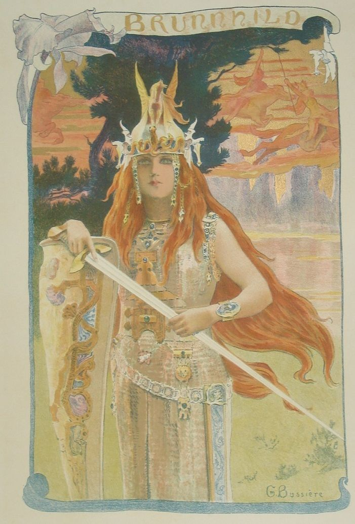 Antique Original French Lithograph 'Brunnhild' L'Estampe Moderne series 1898.