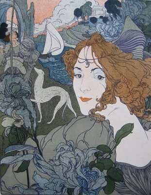 Antique Art Nouveau French Lithograph 'Retour' L'Estampe Moderne series 1897.