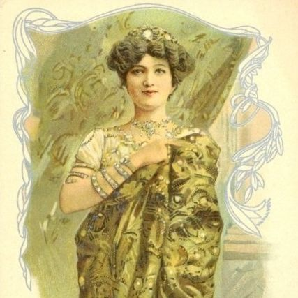 Antique French 'Messaline' Creme Simon Cosmetic Advertising Postcard c1904.