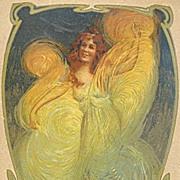 Antique French Cosmetic Advertising Postcard 'Creme Simon' c1900.