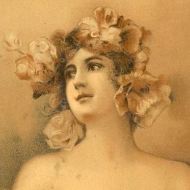 Antique Sepia French Beautiful Woman Postcard c1900