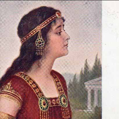 Beautiful Russian Orientalist 'Esther' Artist Postcard 1915.