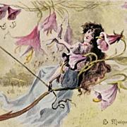 Art Nouveau French 'La Musique' Bell Flower Postcard c1900