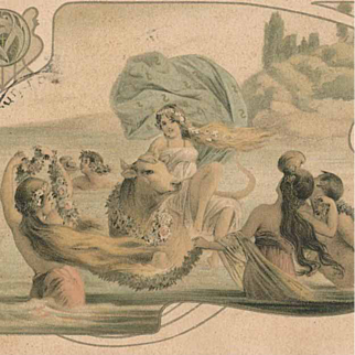 Art Nouveau Gilded French 'Mermaids' Postcard 1903.