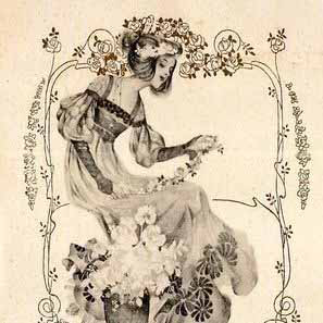 Art Nouveau Vienneoise 'Flower Maiden' Postcard c1900