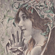 'Maiden with Mistletoe' French Artist Postcard 1900 Art Nouveau era.