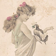 French 'Girl with a Dove' Postcard..Art Nouveau 1904.