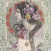 French Signed Artist 'Nouveau Maiden with Pink Daffodils' Postcard 1905