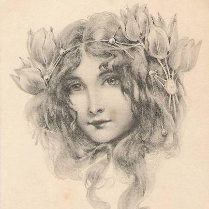 Art Nouveau 'Vienneoise Beauty' French Issue Postcard 1902