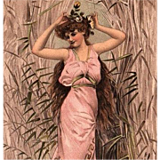 Long Haired Art Nouveau Lady in Grecian Gown Postcard c1900