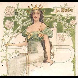 French Art Nouveau 'Rose' Postcard 1908