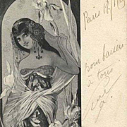 Original Signed French 'Iris' Postcard 1905.