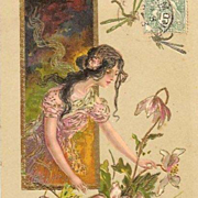 Original Embossed French 'Dragonfly Maiden' Postcard 1903. Hand Gilded.