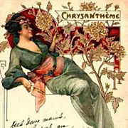 Original Art Nouveau French 'Chrysanthemum' Lithographic Postcard 1905.