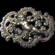 Large Continental Art Nouveau Cherub Brooch Pin