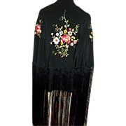 Black Silk Piano Shawl with Floral Embroidery and Very Long Fringe c1890. Art Nouveau era.
