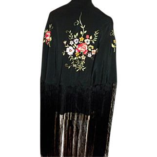 Victorian Black Silk Piano Shawl with Floral Embroidery and Very Long Fringe c1890.