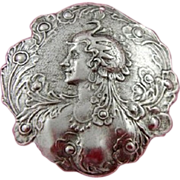 French 'Peacock Lady' Button/Medallion Pendant.