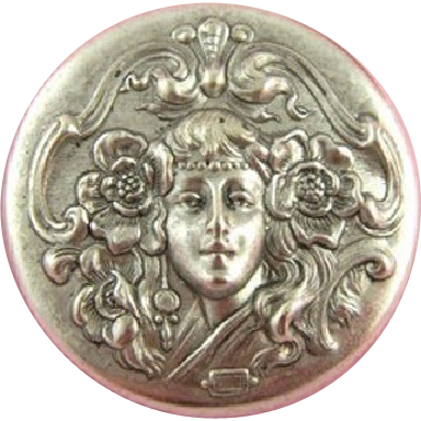 French 'Girl with Poppies in her Hair' Button/Medallion.