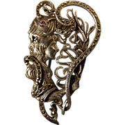 Spectacular Victorian Silver Marcasite 'Lady with a Peacock Feather' Brooch c1890.