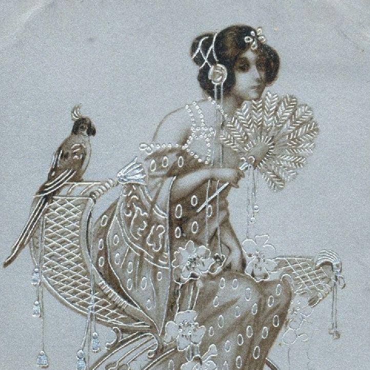 SALE: Antique Embossed Silver 'Maiden with Parrot and Fan' Hingre Postcard 1904.