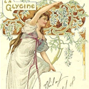 Art Nouveau French Lithographic 'La Glycine' Postcard 1906.