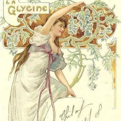 Art Nouveau French Lithographic 'La Glycine' Postcard 1906.