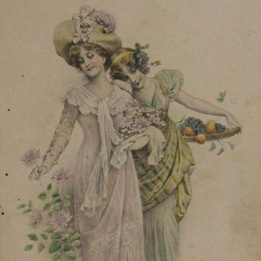 Edwardian Vienne 'Autumn' Postcard 1908.