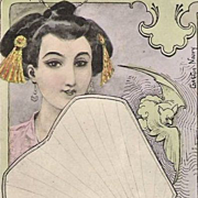 Art Nouveau French Signed 'Oriental Woman with Bat and Fan' Postcard 1902.