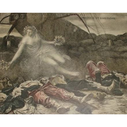 Signed French Lithograph by Flameng 'Hommage Aux Heros' 1915. Numbered Limited Edition.