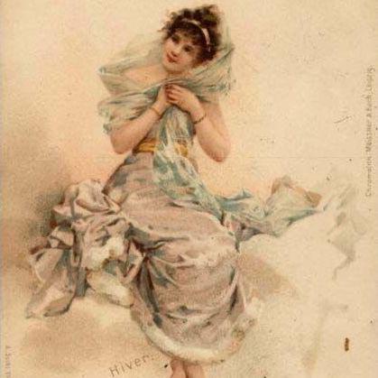 'Winter  Maiden'  German Chromo Vienne Postcard  1906