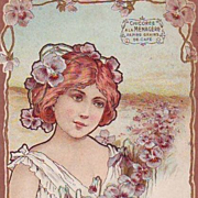 Antique French Advertising 'Maiden with Pansies' Chocolate Embossed Postcard 1904.
