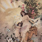 Art Nouveau French 'Cupid, Venus and Sunrise' Signed Postcard c1910