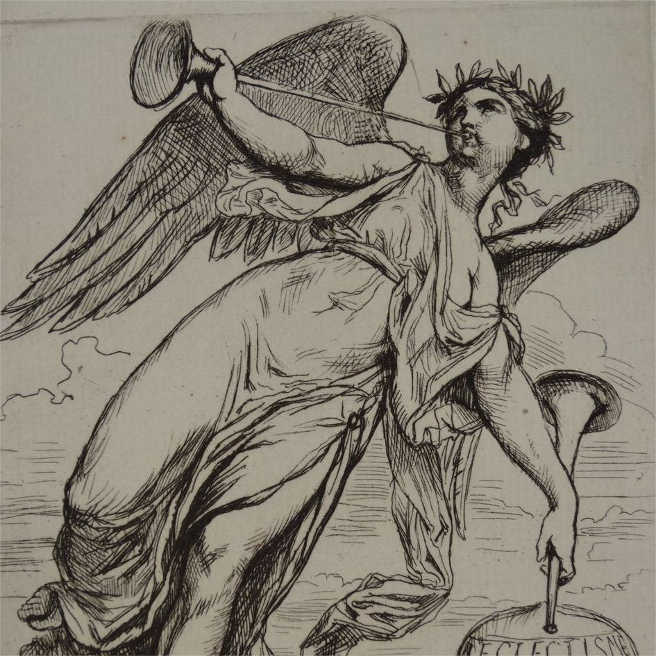 Signed French Etching 'Angel with Horns' 1878. Rare.