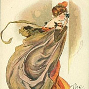 English Art Nouveau Signed Masked Ball Lady Postcard c1900