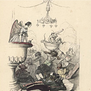 SALE: Original French Color Engraving 'Angels and Demons' by JJ Grandville 1844. Rare.