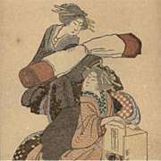 Japanese Artist Hokusai Color Lithograph 'Surimono' London 1909