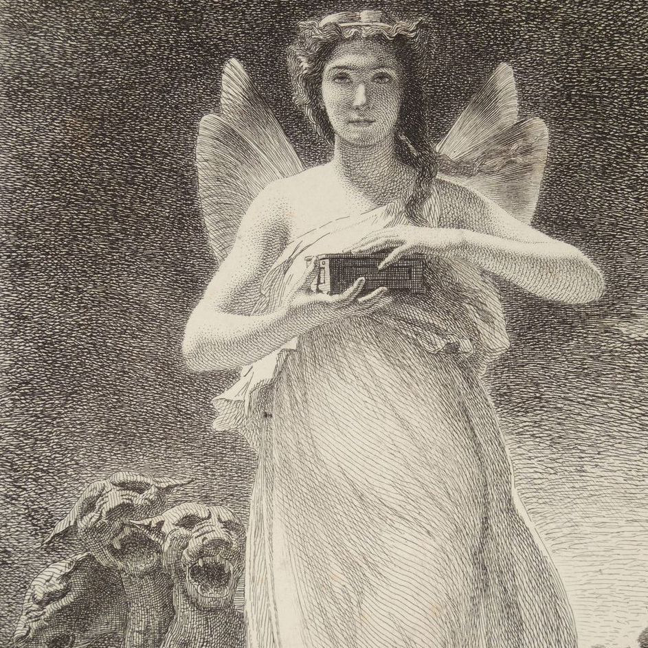Antique Original French Etching 'Psyche in the Underworld' c1860.