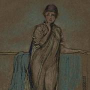 Antique British Art Nouveau Lithograph 'The Purple Cap' by Whistler 1905. - Red Tag Sale Item