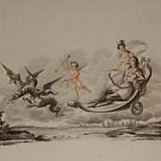Rare French Engraving 'The Chevalier de Bayard' or 'Dragons and Cupid' c1810. Georgian Antique