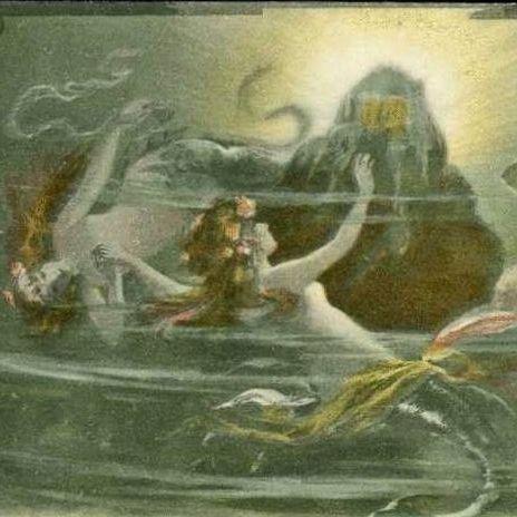 German Art Nouveau Opera Das Rheingold 'Mermaids' Postcard 1906.