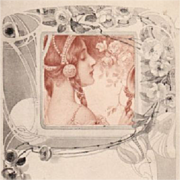 Art Nouveau French Vienne 'Girl with Mirror' Postcard c1900