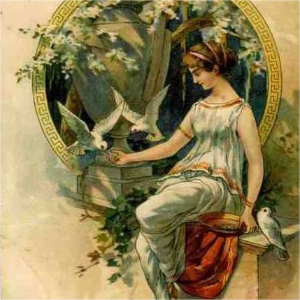 Art Nouveau German Lithographic Postcard 'Girl Feeding Doves' 1900.