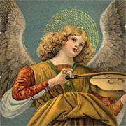 German Artist 'Angel and Violin' Postcard 1924.