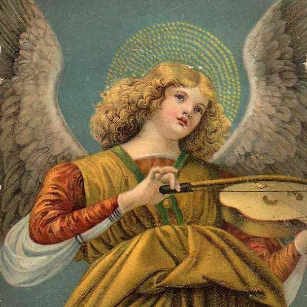 SALE: German Artist 'Angel and Violin' Christmas Postcard 1924.