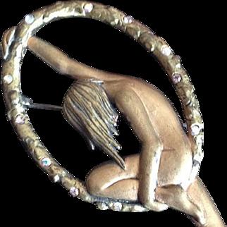 Very Rare Early Large Jonette (JJ) Balancing Nude Brooch/Pin c1970.