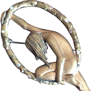 Very Rare Early Large Jonette (JJ) Balancing Nude Brooch/Pin c1970.