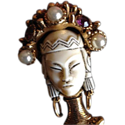 SALE: Early Selro Multi Stone and Art Glass Enamel Gold Tone Asian Princess Pendant Brooch. c1950 Rare.