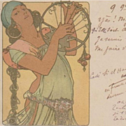 Alphonse Mucha 'Salome' French Postcard 1900 Extremely Rare.