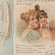 Hand Decorated French Art Nouveau Postcard 1900
